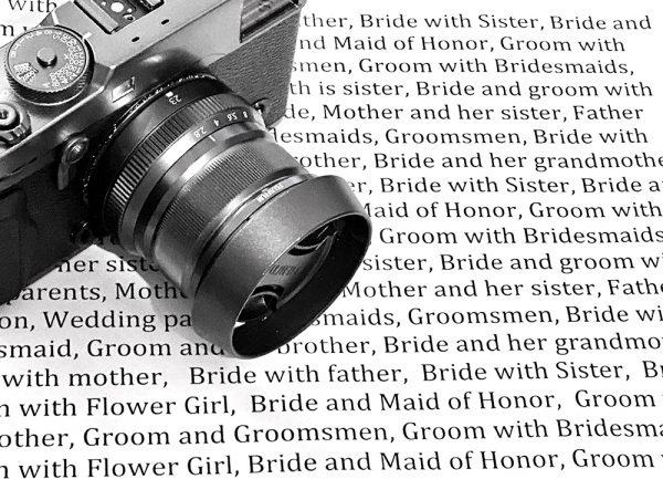 Wedding photographer shot list